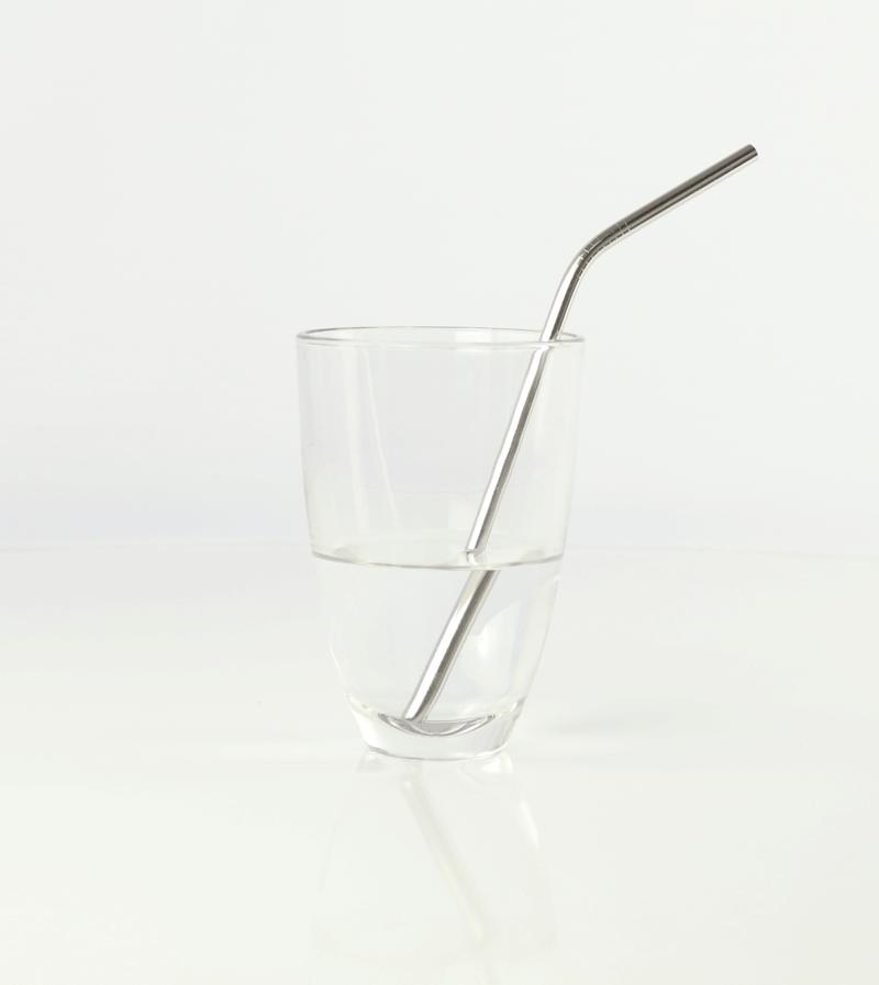 Pajita acero curved